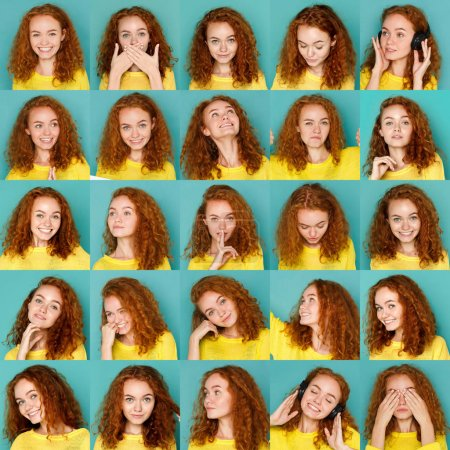 Photo for Set of young girl emotions. Casual redhead woman grimacing and gesturing on camera at blue studio background. Happiness, fear, surprise. Positive and negative feelings - Royalty Free Image