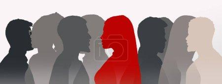 Silhouette féminine rouge parmi les personnes grises ombres