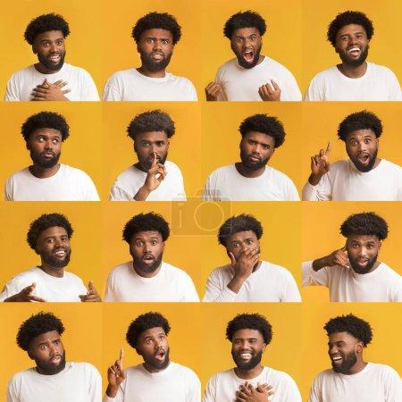 Photo pour Collage de jeunes portraits d'hommes afro-américains avec différentes émotions et gestes sur fond jaune - image libre de droit