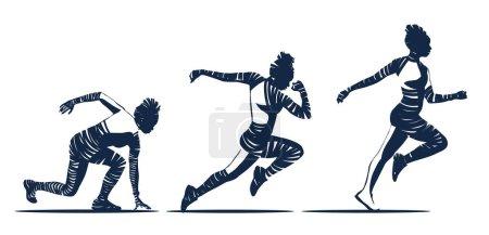 Photo pour Illustration noir et blanc du joggeur femme zèbre dans différents mouvements de course, panorama, course est concept de vie - image libre de droit