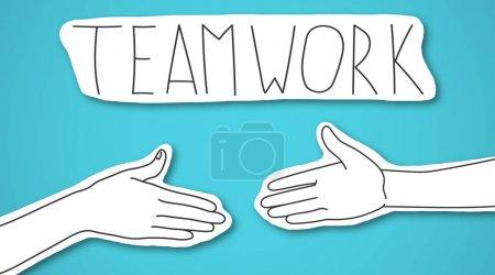 Foto de Dos brazos que se extienden uno hacia el otro bajo el logotipo de Teamwork sobre fondo azul, panorama - Imagen libre de derechos