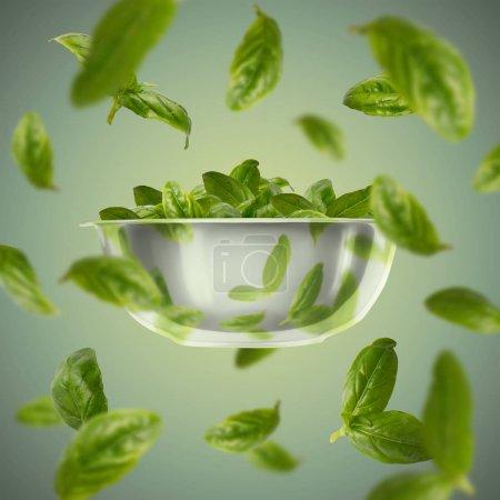 Photo pour Concept de nourriture volante, préparation, alimentation et saine alimentation. Feuilles d'épinards volantes sur une assiette de salade, fond vert - image libre de droit