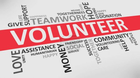 Photo pour Bénévole Wordcloud On White Background With Words Related to Volunteering Teamwork, Charity And Donation. Panorama - image libre de droit