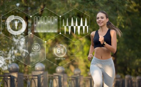 Photo for Young beautiful girl in sportswear is jogging in park. Smartwatch shows her biological indicators. Collage - Royalty Free Image