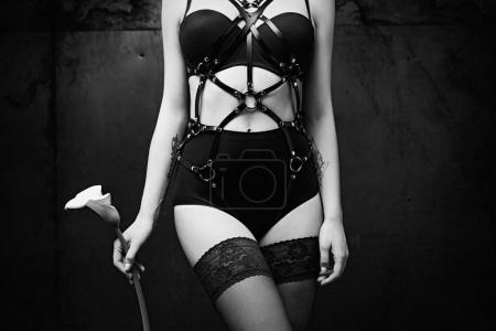 Woman in Full Body Harness