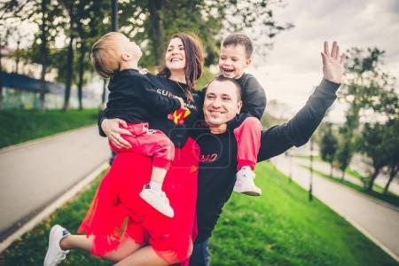 family have fun in park
