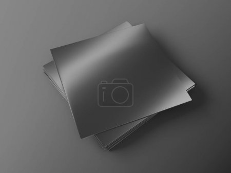 Photo for Stack of vinyl records mockup on black background. 3d rendering. - Royalty Free Image