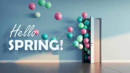 Photo for Balloons fly away through open door in office interior. 3D render - Royalty Free Image