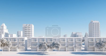 Photo for Miniature city model, regular street view. 3D render - Royalty Free Image