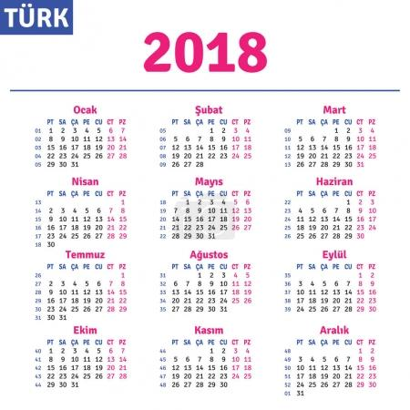 Turkish calendar 2018
