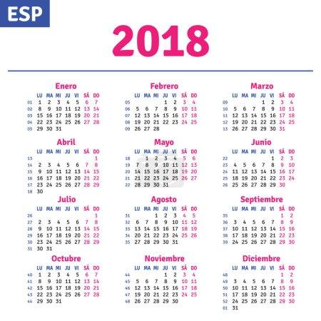 Illustration for Spanish calendar 2018, horizontal calendar grid, vector - Royalty Free Image
