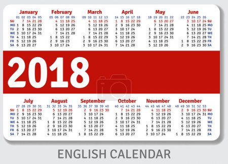 English pocket calendar for 2018