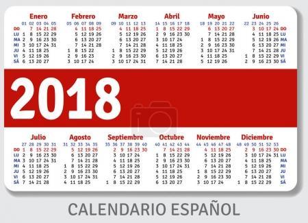 Spanish pocket calendar for 2018