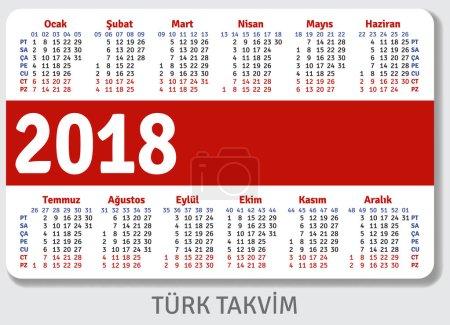 Turkish pocket calendar for 2018