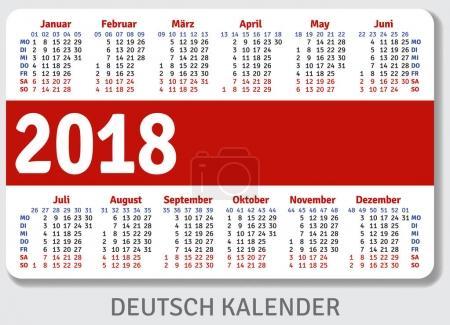 German pocket calendar for 2018
