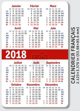 French pocket calendar for 2018