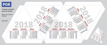 Template portuguese (brazilian) calendar 2018 pyramid shaped