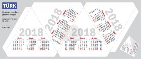 Template turkish calendar 2018 pyramid shaped