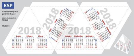 Template spanish calendar 2018 pyramid shaped
