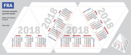 Template french calendar 2018 pyramid shaped