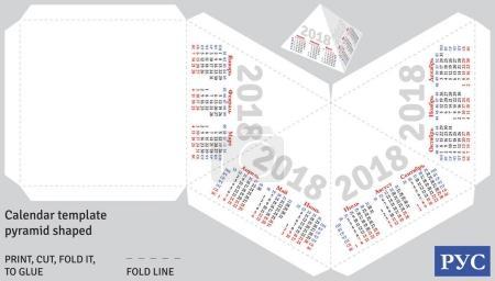 Template russian calendar 2018 pyramid shaped