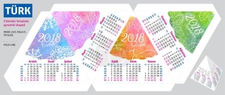 Template turkish calendar 2018 by seasons pyramid shaped