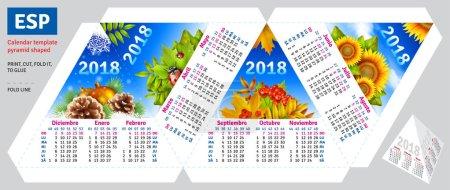 Template spanish calendar 2018 by seasons pyramid shaped