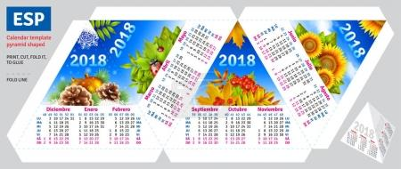 Template spanish calendar 2018 by seasons pyramid shaped