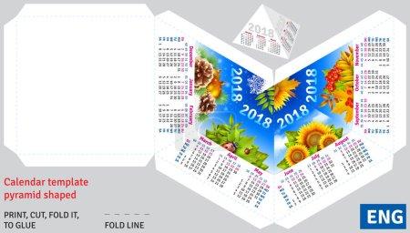 Template english calendar 2018 by seasons pyramid shaped