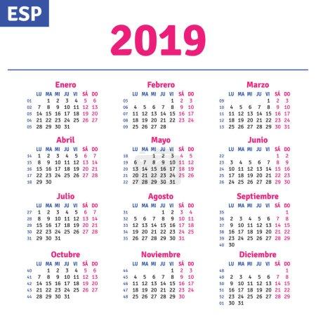 Illustration for Spanish calendar 2019, horizontal calendar grid, vector - Royalty Free Image