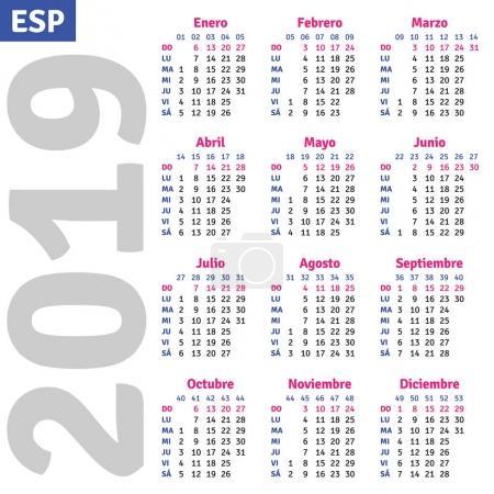 Illustration for Spanish calendar 2019, vertical calendar grid, vector - Royalty Free Image