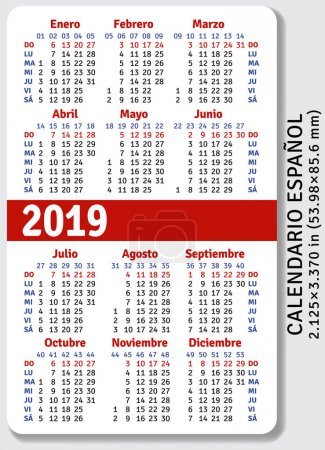 Spanish pocket calendar for 2019