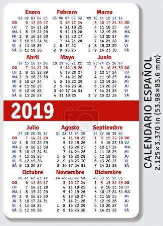 Spanish pocket calendar for 2019