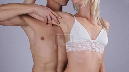 Laser hair removal for men and woman. Waxing treatment. Fit, fitness couple on white background