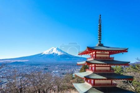 The Chureito Pagoda with Mt. Fuji iin Kawagushiko near Tokyo, Japan