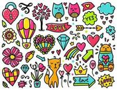 Doodles cute valentines elements