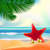 Vector illustration of Beautiful Summer Beach background all elements are in separate layers and grouped