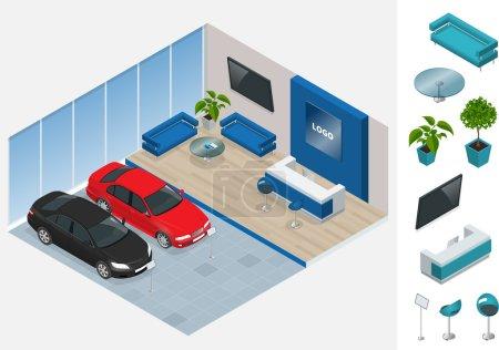 Illustration pour Commercialement coloré voitures stand dans le magasin de voitures. Illustration isométrique plate vectorielle 3d. Nouvelles belles voitures brillantes se tiennent près de la réception de bureau dans le magasin de voitures - image libre de droit