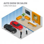 Isometric cars stand in car shop
