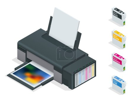 Illustration for Photo inkjet printer. Color printer prints photo on white isolated background. Four empty refillable cartridges - Royalty Free Image