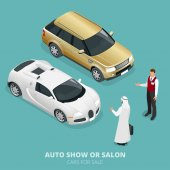 Commercially colourful cars stand in car shop Cars for sale Auto business car sale and people concept Vector 3d flat isometric illustration