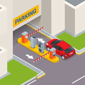 Isometric Parking payment station access control concept Parking ticket machines and barrier gate arm operators are installed at the entrance and exit of parking area as tools to charge parking fee