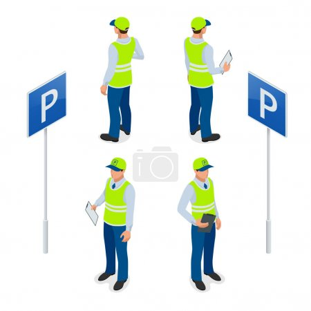Isometric Parking Attendant. Traffic warden, getting parking ticket or parking ticket fine mandate. Flat 3d illustration