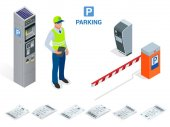 Isometric Parking Attendant Parking ticket machines and barrier gate arm operators are installed at the entrance and exit of parking area as tools to charge parking fee