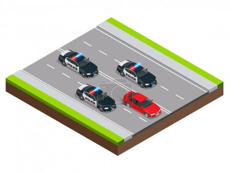 Police in pursuit of a criminal with a stolen car or drunk driving, speeding. Isometric Police Chase illustration concept. Law enforcement speeding after criminal.