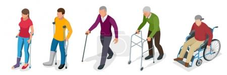Fracture of leg or leg injury. Young and old people in a gyse with crutches, a wheelchair. Rehabilitation after trauma. Orthopedics and medicine. Flat 3d isometric illustration