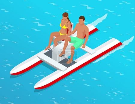 Relax on the paddle boat. Couple on pedalo also called pedal boat on a lake. summer time concept. Flat 3d isometric illustration. For infographics, design and games