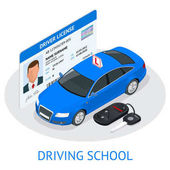 Design concept driving school or learning to drive Flat isometric illustration