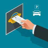 Mans hand with Parking tickets Isometric Flat illustration vector icon for web Urban transport Parking space Accessibility