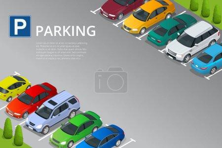 Illustration pour Illustration vectorielle isométrique Voiture dans le parking. Icône d'illustration plate pour web. Transport urbain. Place de parking. Accessibilité . - image libre de droit